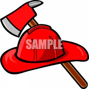 300x298 A Fireman's Helmet And Axe Clipart Picture