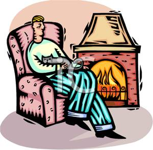 300x295 Clip Art Image A Man And His Cat Curled Up In An Arm Chair By