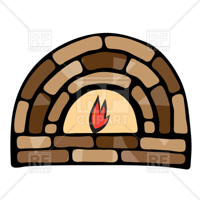 400x400 Symbolic Stone Fireplace Royalty Free Vector Clip Art Image