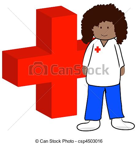 450x467 Ethnic First Aid Worker With Symbol Ethnic First Aid Stock