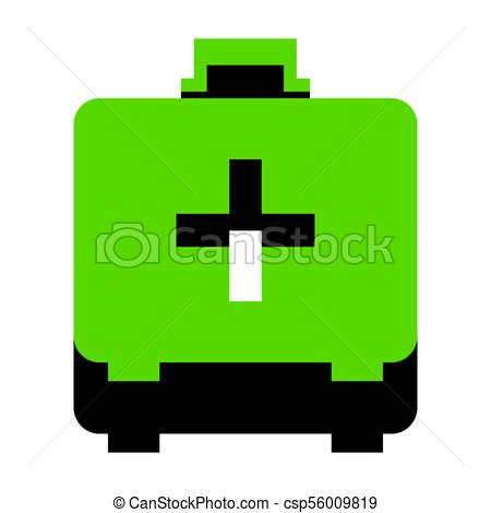 450x470 Medical First Aid Box Sign. Vector. Green 3d Icon With Black Side