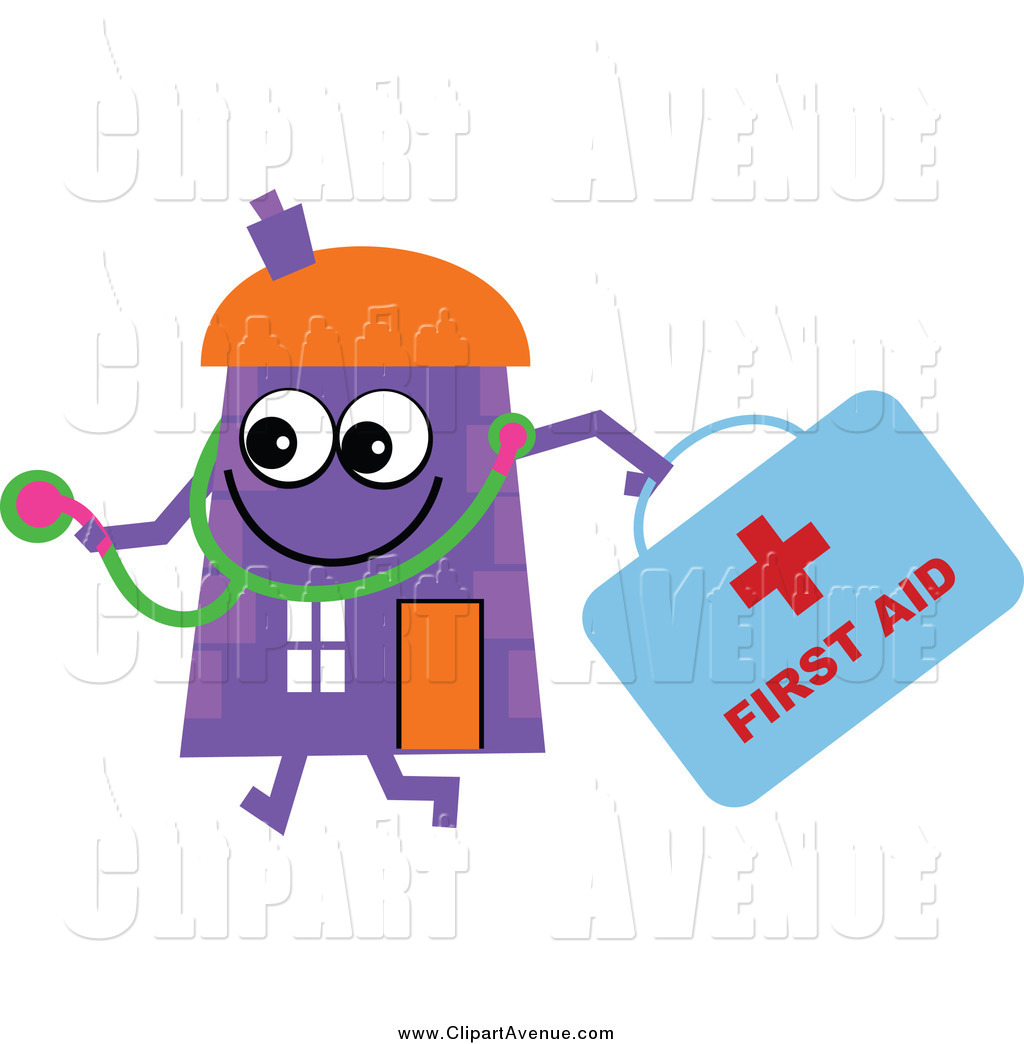 1024x1044 Avenue Clipart Of A Purple House Character Doctor With A First Aid