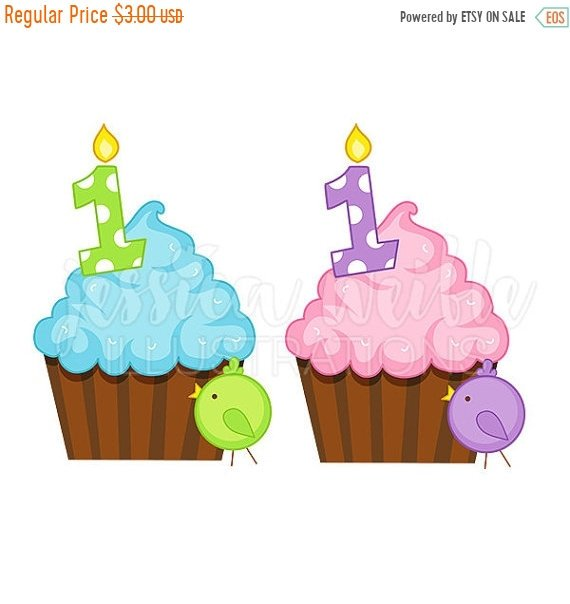 570x604 On Sale First Birthday Cupcake Cute Digital Clipart, First