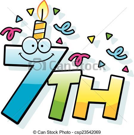 450x454 7th Birthday Clipart Cartoon 7th Birthday Clip Art Vector