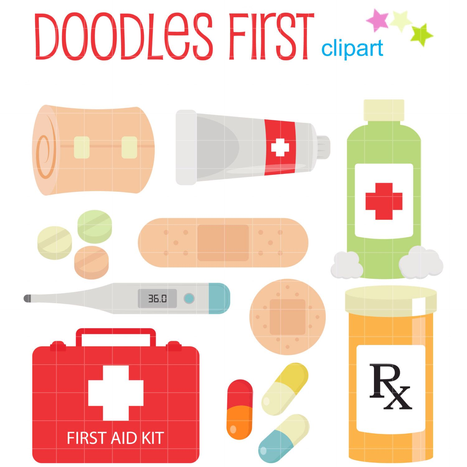 1500x1500 First Aid Kit Digital Clip Art For Scrapbooking Card Making
