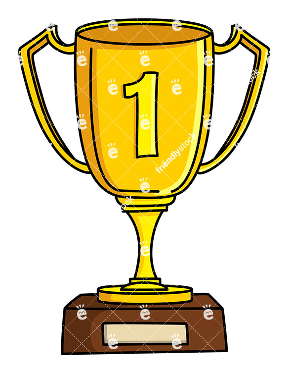 585x755 Winner Gold Cup First Place Cartoon Vector Clipart