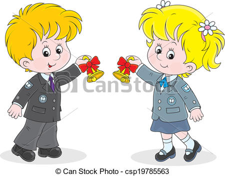 450x353 First Day Of School. Schoolgirl And Schoolboy Ringing The Clip