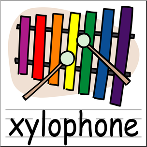 304x304 Clip Art Basic Words Xylophone Color Labeled I