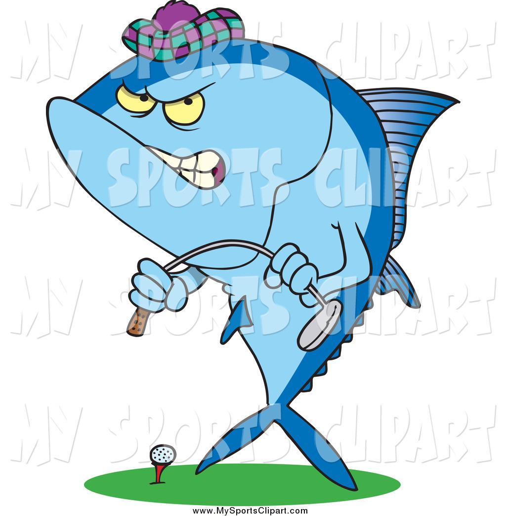 1024x1044 Sports Clip Art Of A Cartoon Mad Blue Tuna Fish Playing Golf By