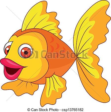 450x454 Vector Illustration Of Cute Golden Fish Cartoon Vector