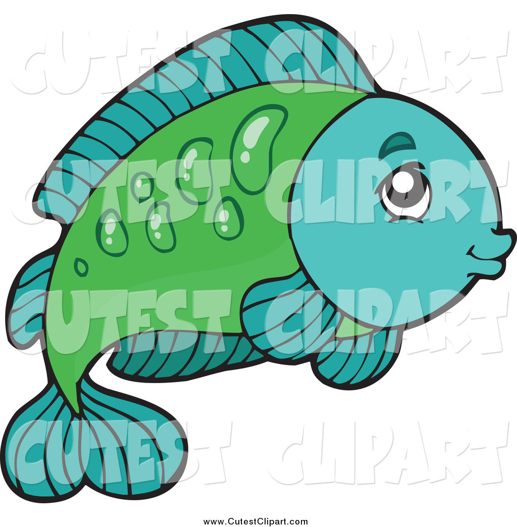 1024x1044 Cartoon Vector Clip Art Of A Cute Green And Turquoise Fish Facing
