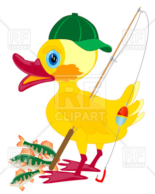 320x400 Duckling Fisherman With Fishing Rod Royalty Free Vector Clip Art