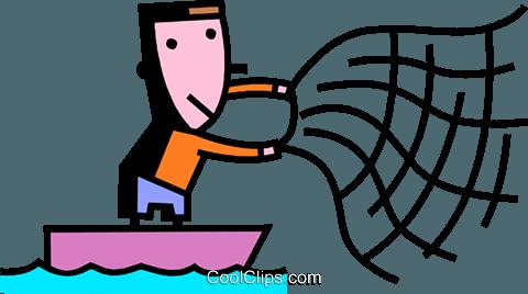 480x268 Fisherman Throwing Net Royalty Free Vector Clip Art Illustration