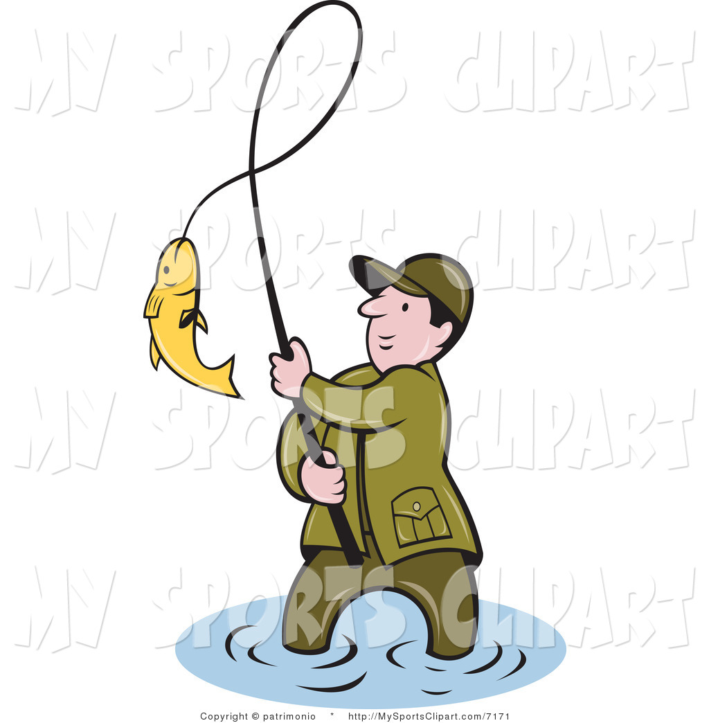 1024x1044 Sports Clip Art Of A Fisherman Bringing In His Catch By Patrimonio