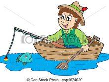 220x165 Fisherman Clip Art Fisherman In Boat Isolated Illustration Stock
