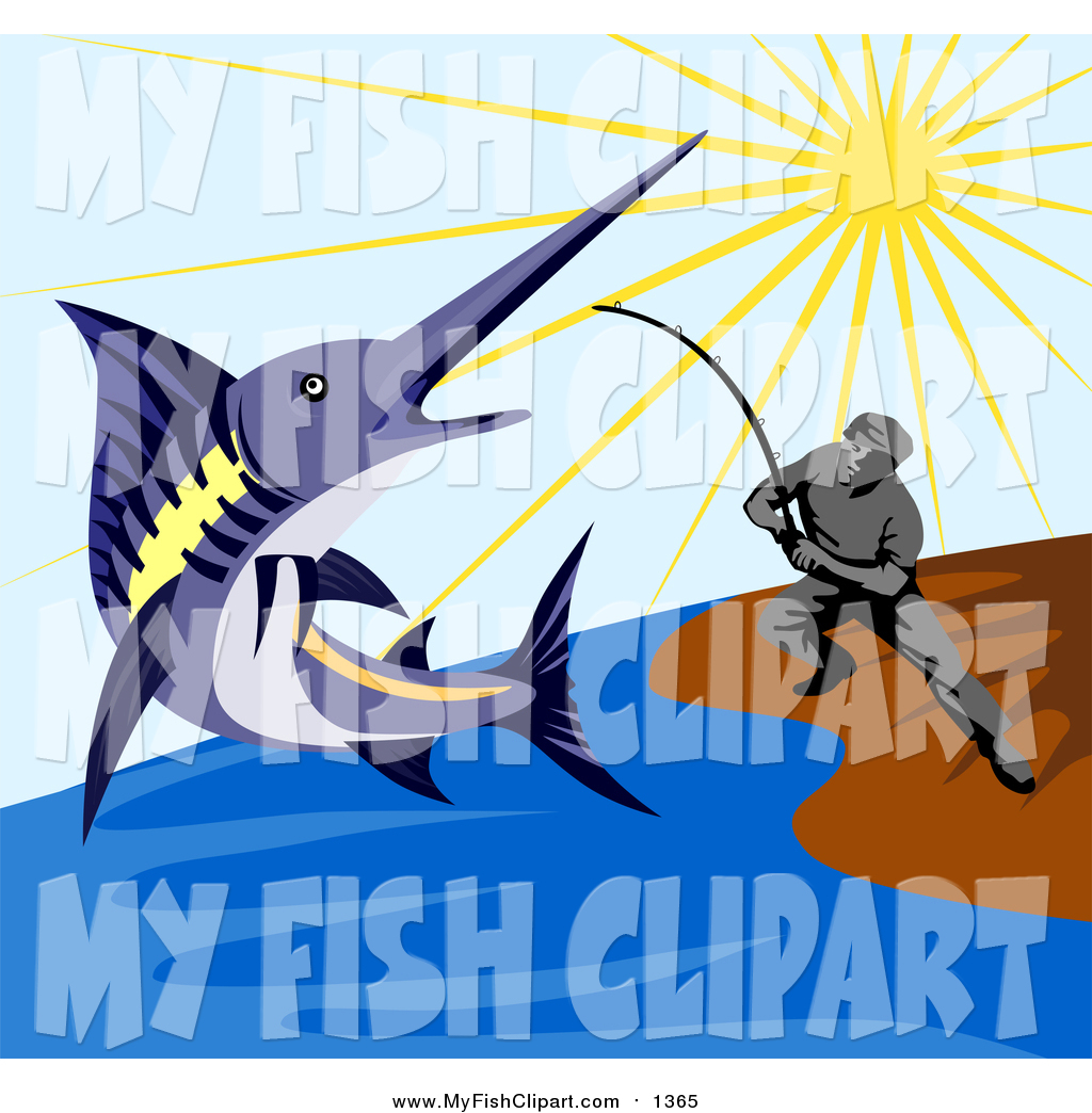 1024x1044 Clip Art Of A Fisherman Reeling In A Blue Marlin From A Beach By