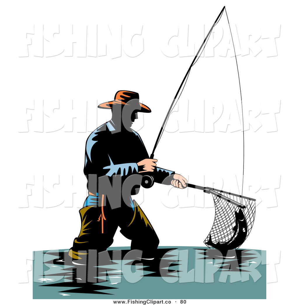 1024x1044 Cliprt Of Sporty Wading Fisherman Scooping Up Fish