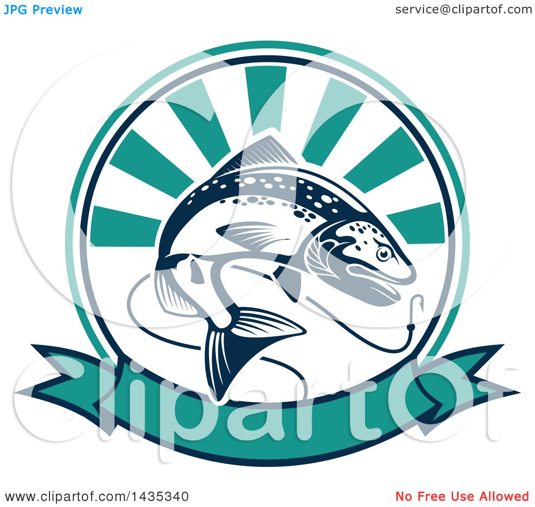 1080x1024 Clipart Of Trout Fish Jumping For Hook In Ray Circle Over