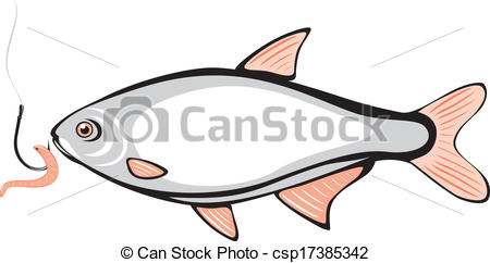 450x242 Fish And Fishing Hook With A Worm. Vector Illustration Eps Vector