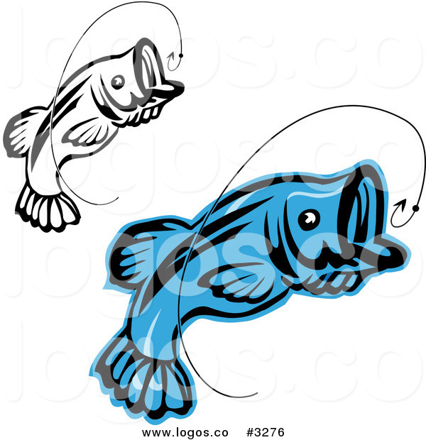 600x620 Royalty Free Vector Of Jumping Fish And Hook Logos By Vector