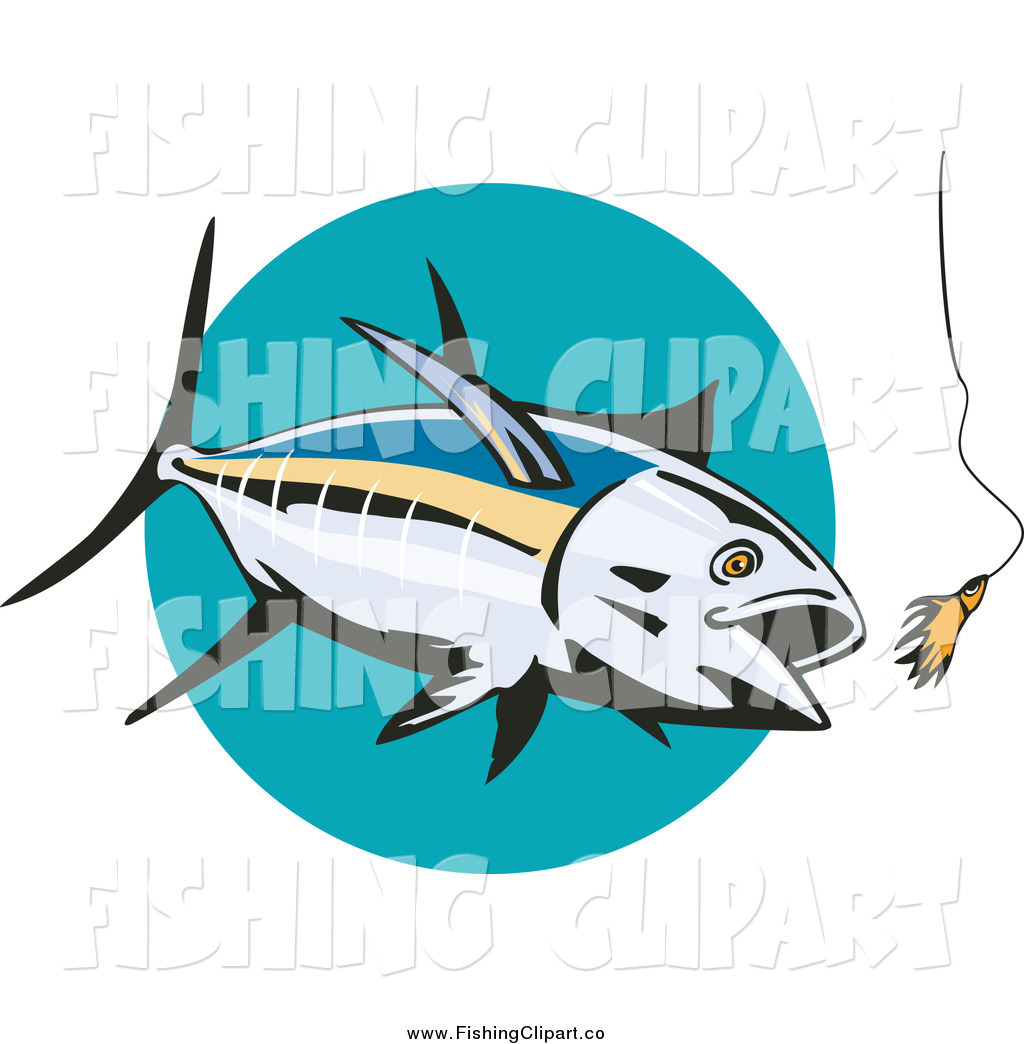 1024x1044 Clip Art Of A Albacore Tuna Fish Chasing A Lure Over A Turquoise