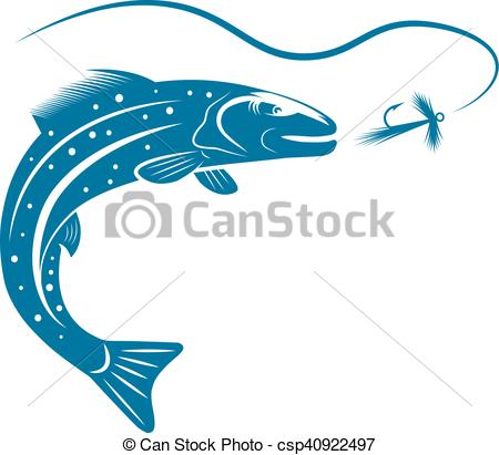 450x411 Trout Fish And Lure Vector Design Template Eps Vectors
