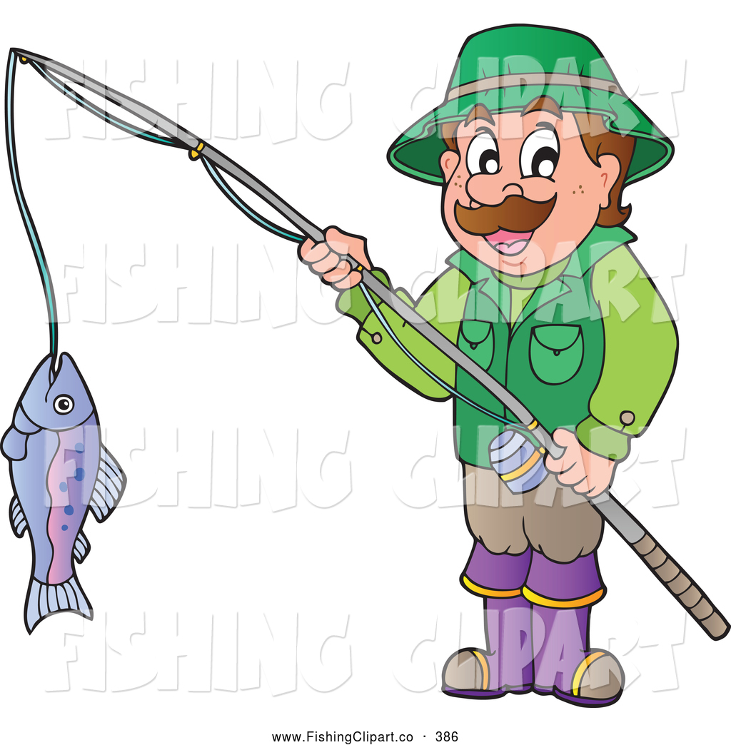 1024x1044 Clip Art Of A Happy Man Holding His Catch On A Fishing Pole By
