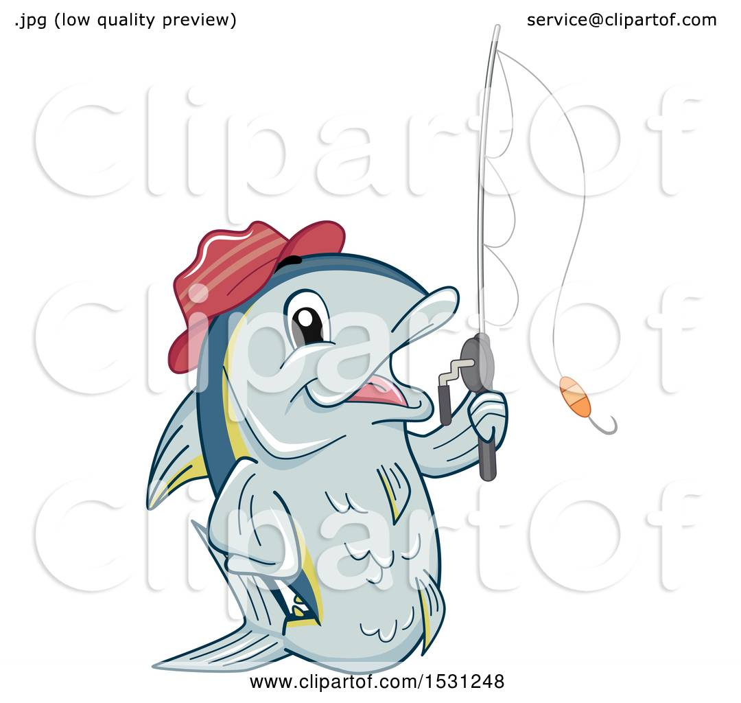 1080x1024 Clipart Of A Tuna Fish Mascot Wearing A Hat And Holding A Fishing