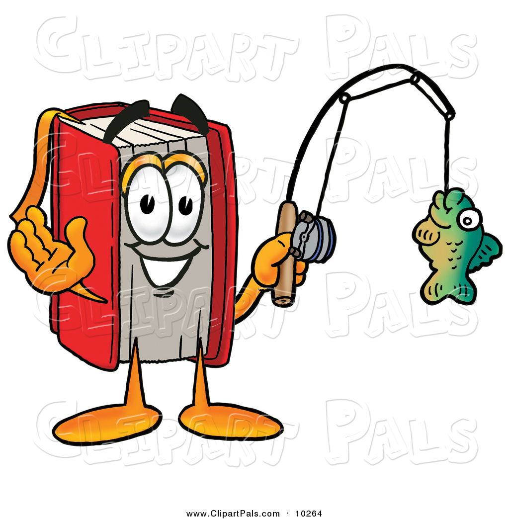 1024x1044 Pal Clipart Of A Red Book Mascot Holding A Fish On A Fishing Pole