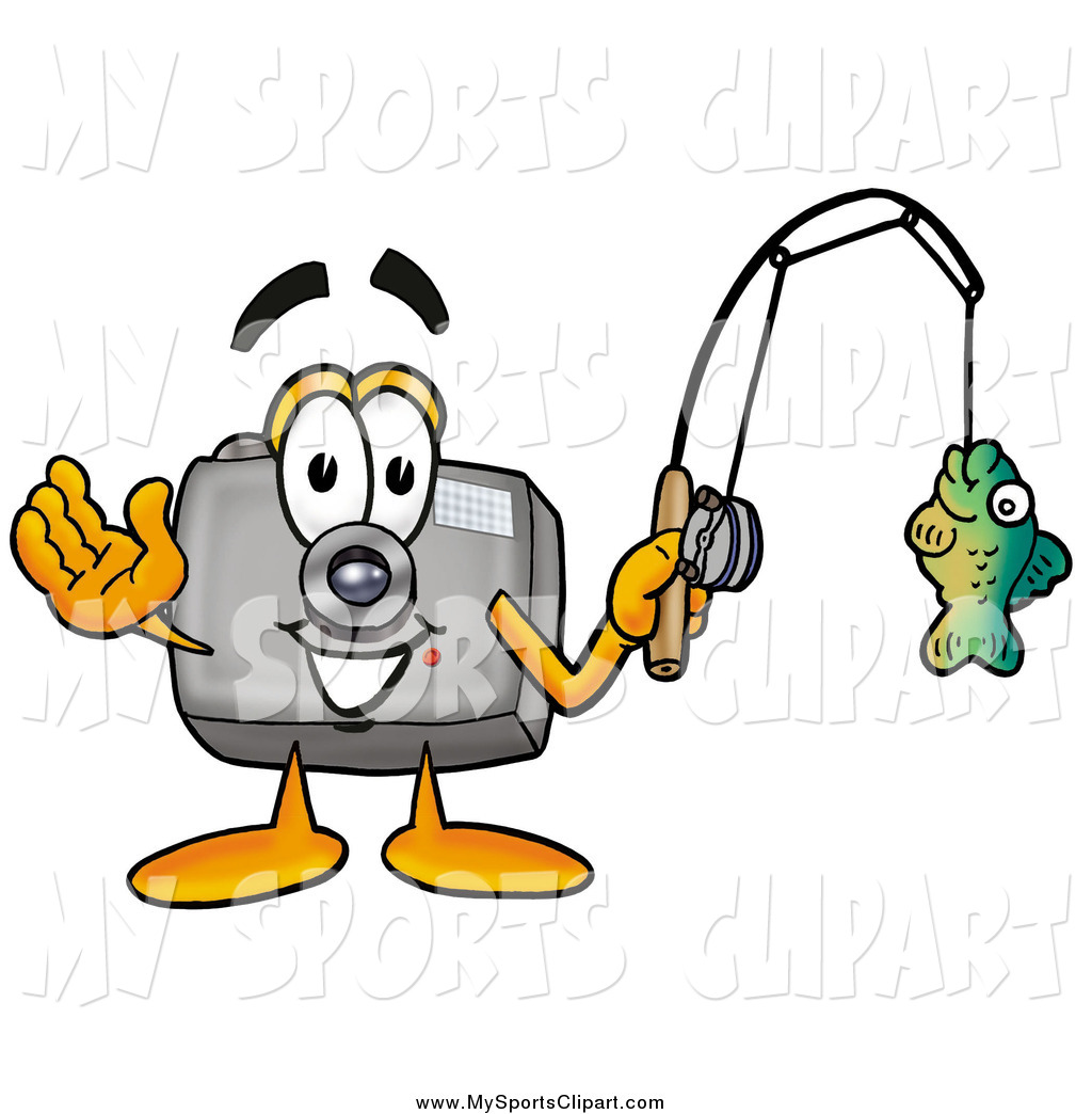 1024x1044 Sports Clip Art Of A Camera Character Holding A Fish On A Fishing