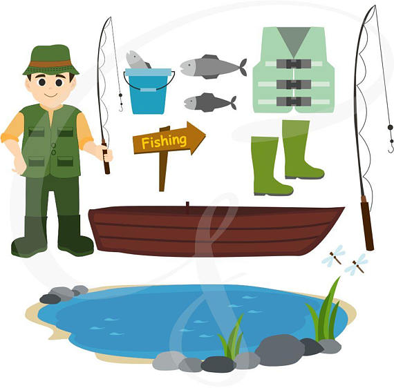 570x562 Fishing Clipart, Father's Day, Camping, Fishing Items, Digital