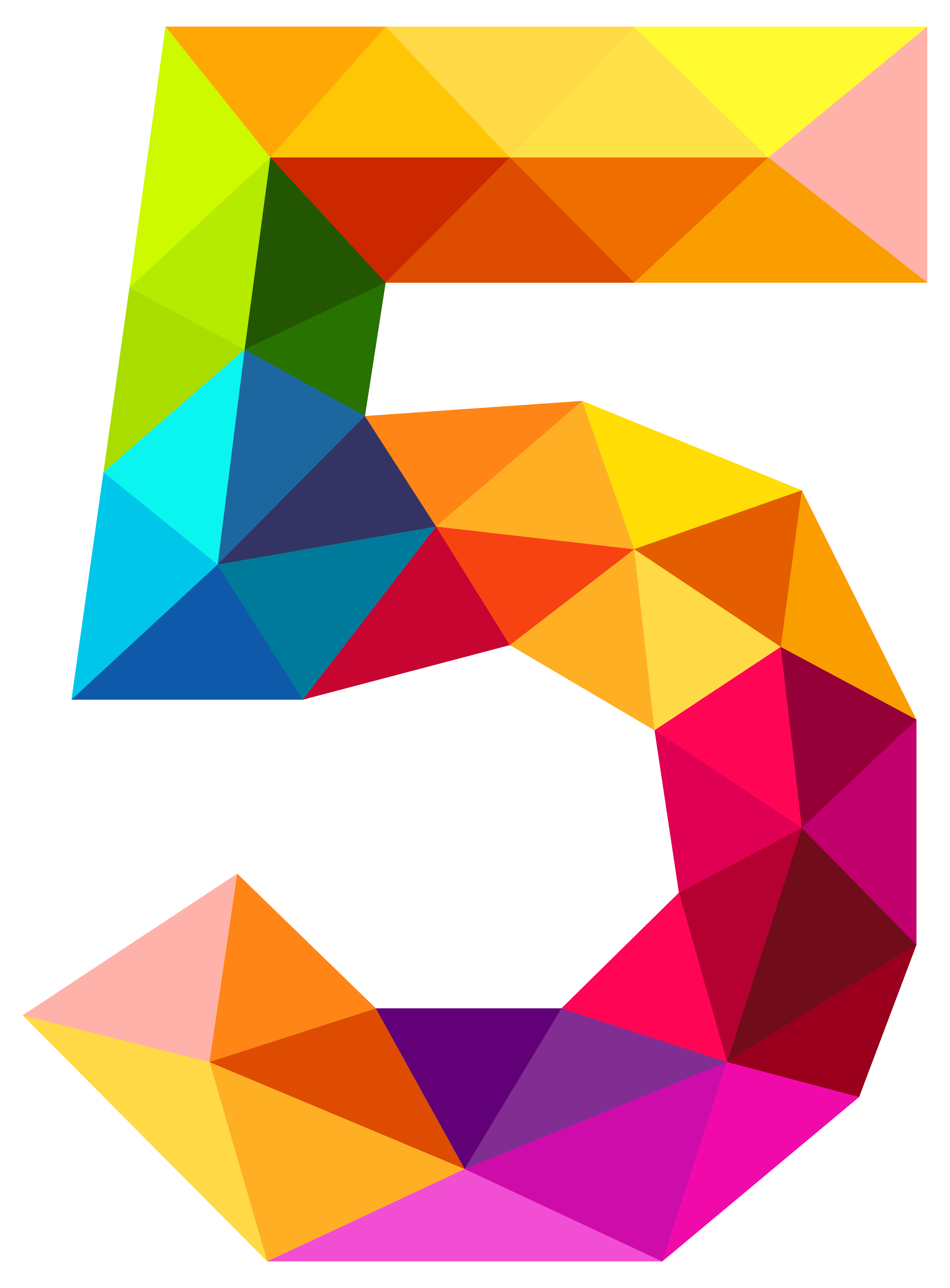 4179x5667 Colourful Triangles Number Five Png Clipart Imageu200b Gallery