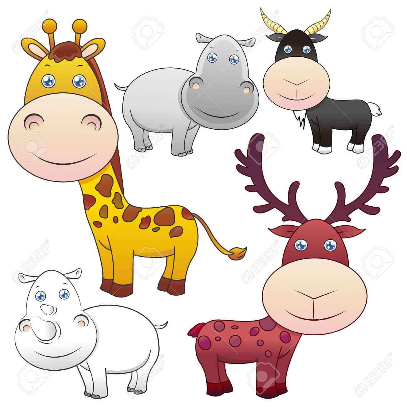 1300x1300 Five Lovely Animals Set On White Background Royalty Free Cliparts