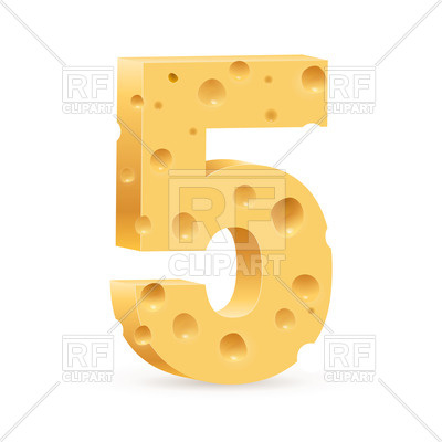 400x400 Number Five Made Of Cheese Royalty Free Vector Clip Art Image