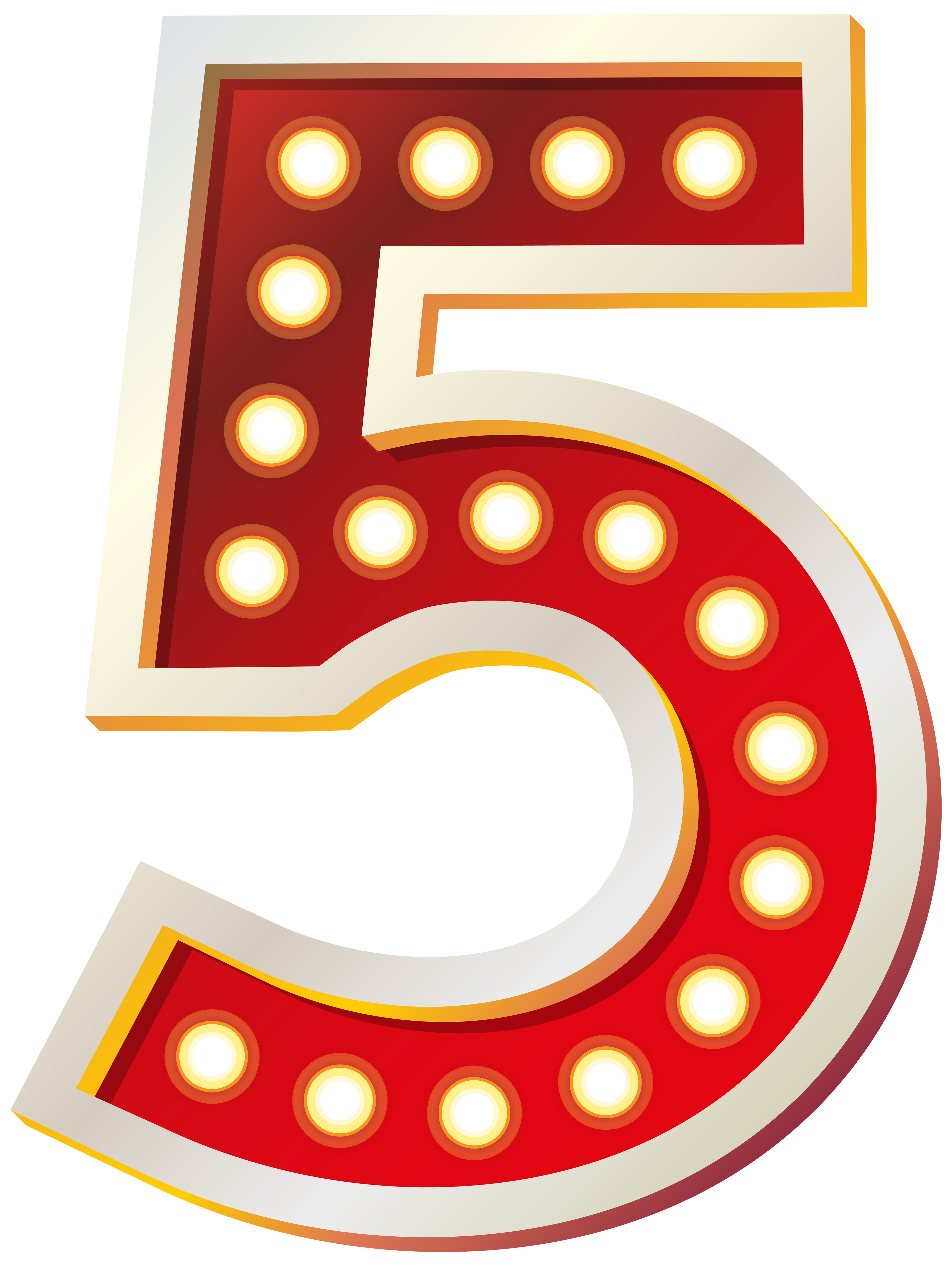 3762x5000 Red Number Five With Lights Png Clip Art Imageu200b Gallery