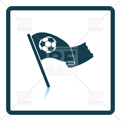 400x400 Fans Waving Flag With Soccer Ball Icon Royalty Free Vector Clip