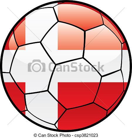 450x470 Fully Editable Vector Illustration Flag Of Denmark On Soccer
