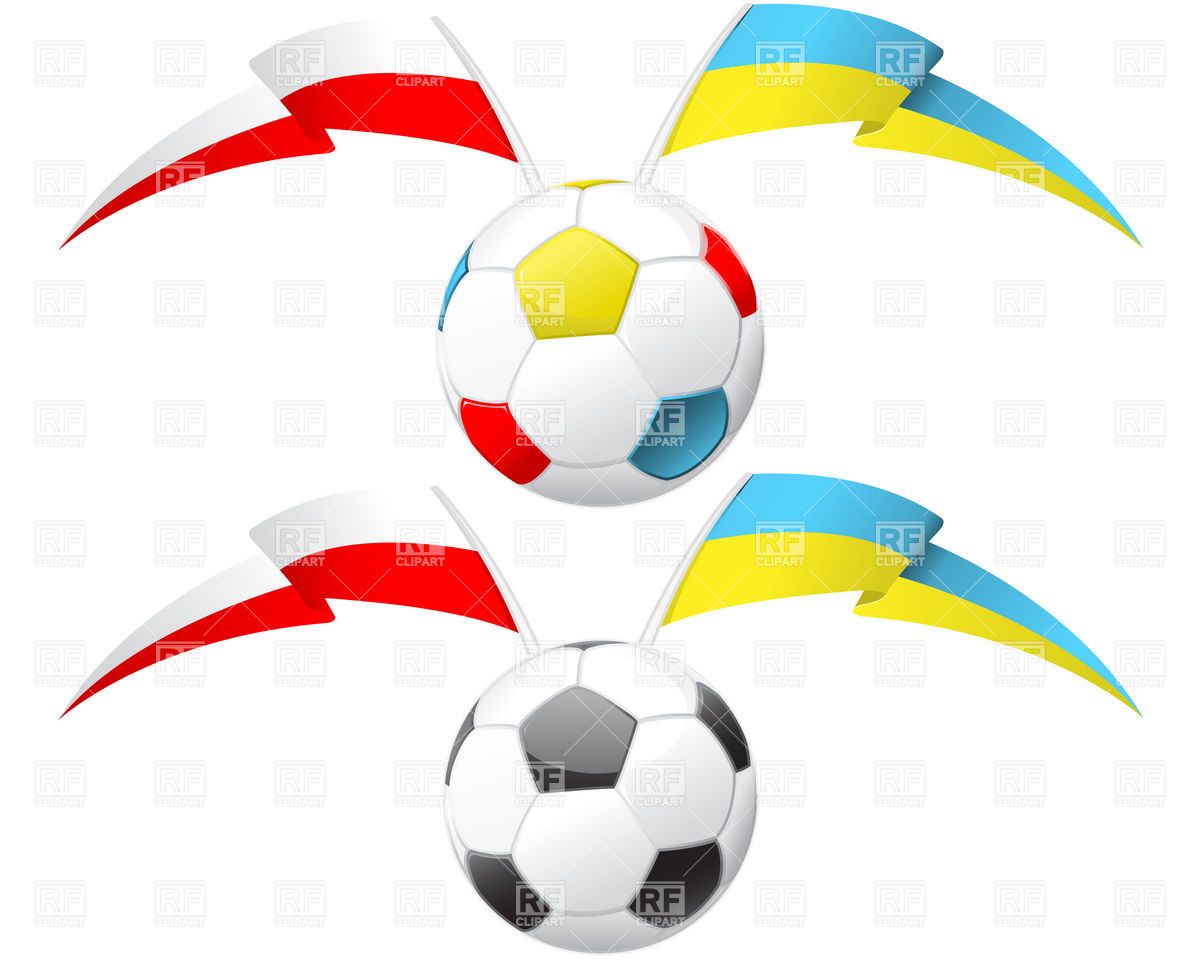 1200x960 Soccer Ball With Poland And Ukraine Flags Royalty Free Vector Clip