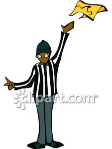 225x300 A Football Referee Throwing A Yellow Flag Royalty Free Clipart Picture