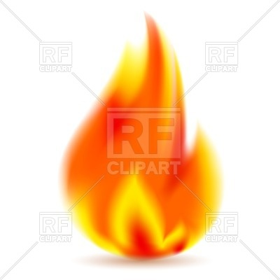 400x400 Fire, Bright Flame On White Background Royalty Free Vector Clip