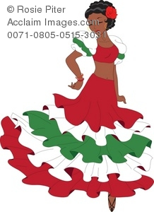 218x300 Clipart Illustration Of A Latino Woman Dancing A Pasa Doble