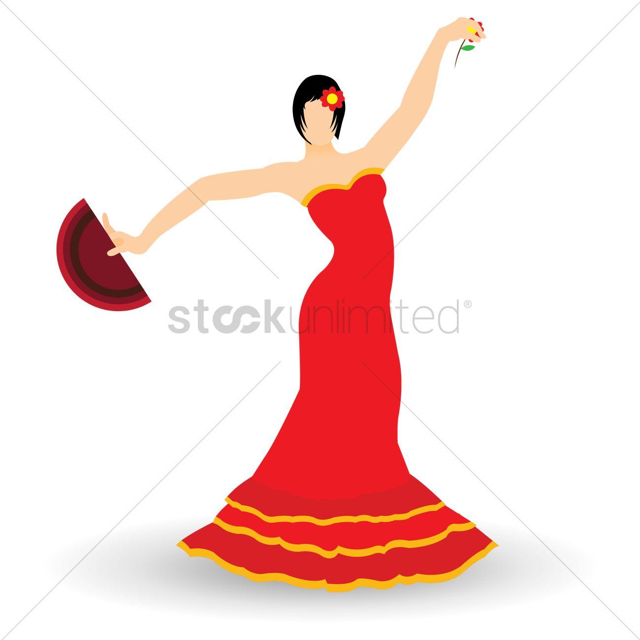 1300x1300 Flamenco Dancer Vector Image