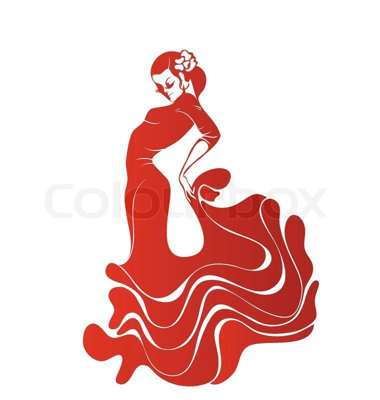 760x800 Stilized Silhouette Of Spanish Flamenco Dancer Women Stock