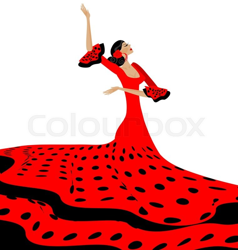 760x800 White Background And Spanish Dancer In Red Black Dress Stock