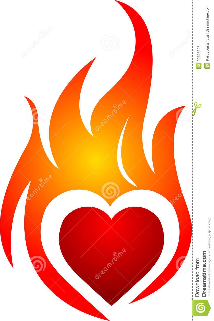 869x1300 Flaming Heart Clipart
