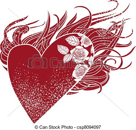 450x429 Flaming Heart, A Graphic Element With Roses And A Stylized