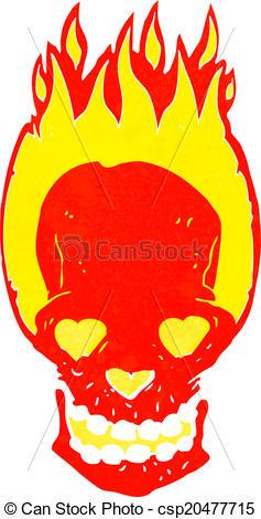 237x470 Cartoon Flaming Skull With Love Heart Eyes Vector Clip Art
