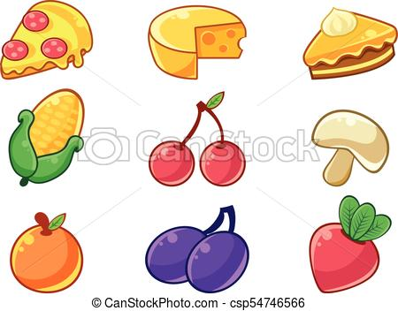 450x352 Food Items Outlined Childish Stickers Set For Flash Game Clip