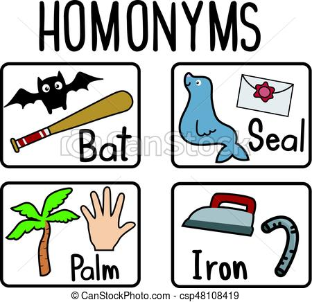 450x436 Homonyms Flash Cards. Education Themed Illustration Featuring