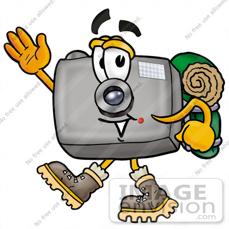 450x450 Clip Art Graphic Of A Flash Camera Cartoon Character Hiking